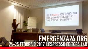 Emergenza24 - L'Espresso Editors Lab Francesca Anzalone presenta il progetto